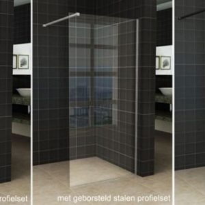 Wiesbaden Slim inloopdouche helder glas 105x200