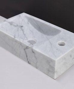 Forzalaqua Venetia Fontein rechts 40x10x22 cm  1xø36 mm Carrara Marmer Gepolijst