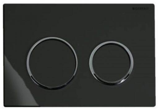 Geberit Omega 20 bedieningsplaat 2-knops front/planchetbediening Zwart-Chroom-Zwart