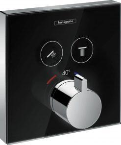 Hansgrohe Showerselect afbouwdeel thermostaat met stopkranen glas zwart