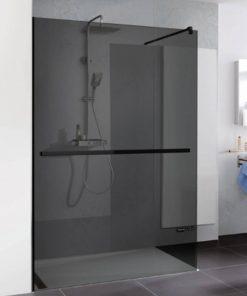 Duschprofi Walk In Pro inloopdouche met handdoekhouder 120x200 cm grijs glas Zwart
