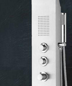 Saniselect Douchekolom met thermostatische kraan 148x22 cm RVS
