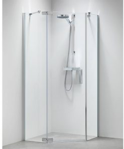 Sealskin Get Wet Custom douchecabine vijfhoek swingdeur 100x195 cm zilver hoogglans helder glas