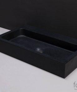 Forzalaqua Taranto Wastafel 50x30x8 cm zonder kraangat Graniet Gebrand