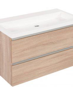 Saniselect Guarda meubelset 2 lades met mineraalmarmere wastafel greeploos 100cm Bardolino Eiken Zonder Kraangat