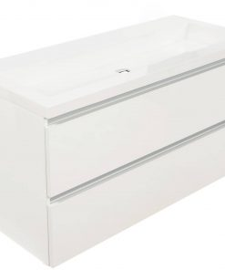Saniselect Guarda meubelset 2 lades met mineraalmarmere wastafel greeploos 120cm Glans Wit Zonder Kraangat
