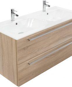 Saniselect Kreo meubelset 2 lades met dubbele keramische wastafel 120cm Bardolino Eiken