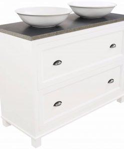 Ben Maison meubelset 120cm 2 lades mat wit Graniet blad met opbouwkommen