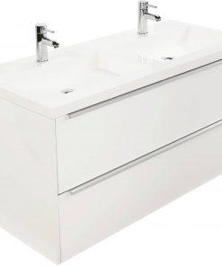 Saniselect Socan meubelset 2 lades met dubbele mineraalmarmere wastafel 120cm Glans Wit