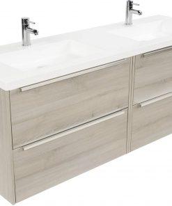Saniselect Socan meubelset 4 lades met dubbele mineraalmarmere wastafel 160cm Litho Grijs