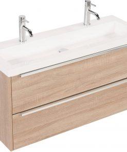 Saniselect Socan Slimline meubelset 2 lades met mineraalmarmere wastafel 100cm Bardolino Eiken