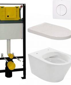 Saniselect Spring 2.0 Rimless toiletset wit