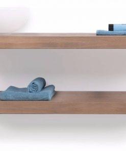 Looox Wooden Base Shelf Duo Eiken 140 cm Old Grey/RVS